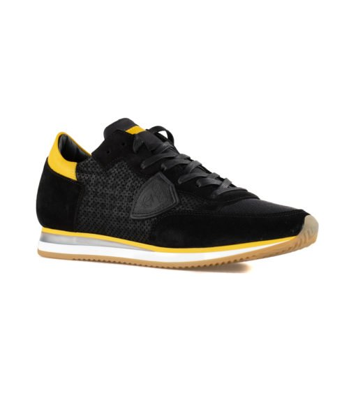 SNEAKERS UOMO PHILIPPE MODEL NERA TRLU PS47 PERFORE NOIR MADE IN ITALY