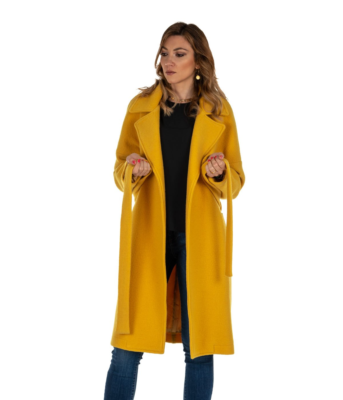 separation shoes c06b7 2ba13 CAPPOTTO DONNA DISTRETTO 12 LA FEMME GIALLO LANA HELLE MADE IN ITALY