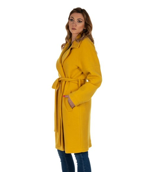 CAPPOTTO DONNA DISTRETTO LA FEMME 12 GIALLO LANA HELLE MADE IN ITALY COAT WOMAN