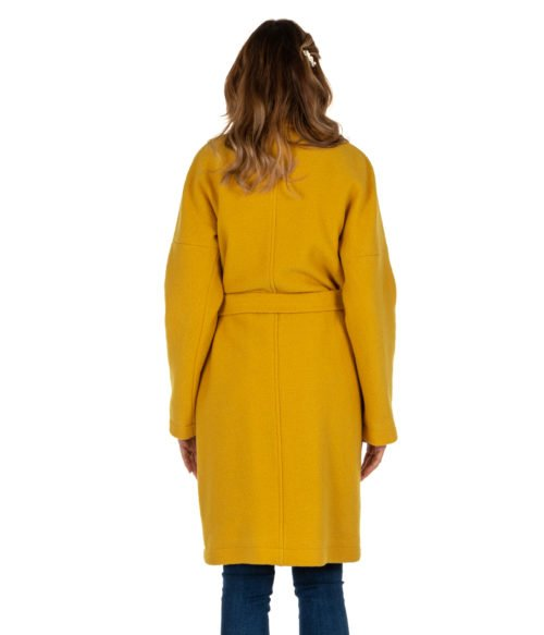 CAPPOTTO DONNA DISTRETTO LA FEMME 12 GIALLO LANA HELLE MADE IN ITALY LON WOMAN COAT