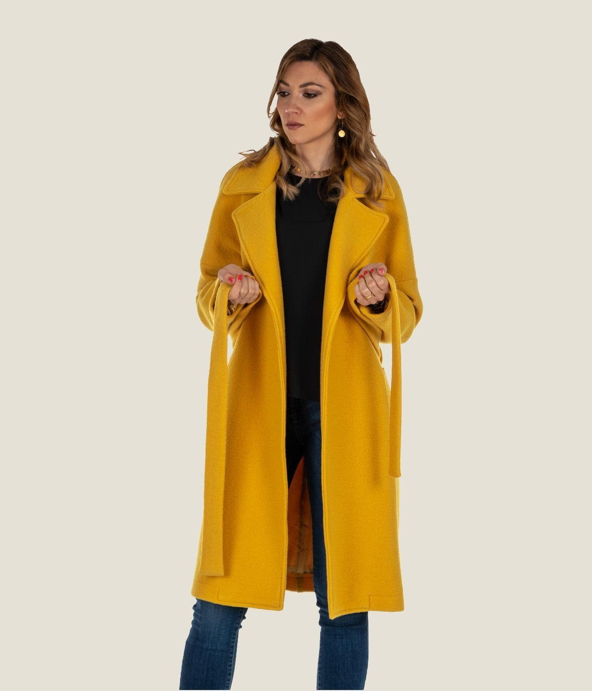 separation shoes c0eaf f114f CAPPOTTO DONNA DISTRETTO 12 LA FEMME GIALLO LANA HELLE MADE IN ITALY