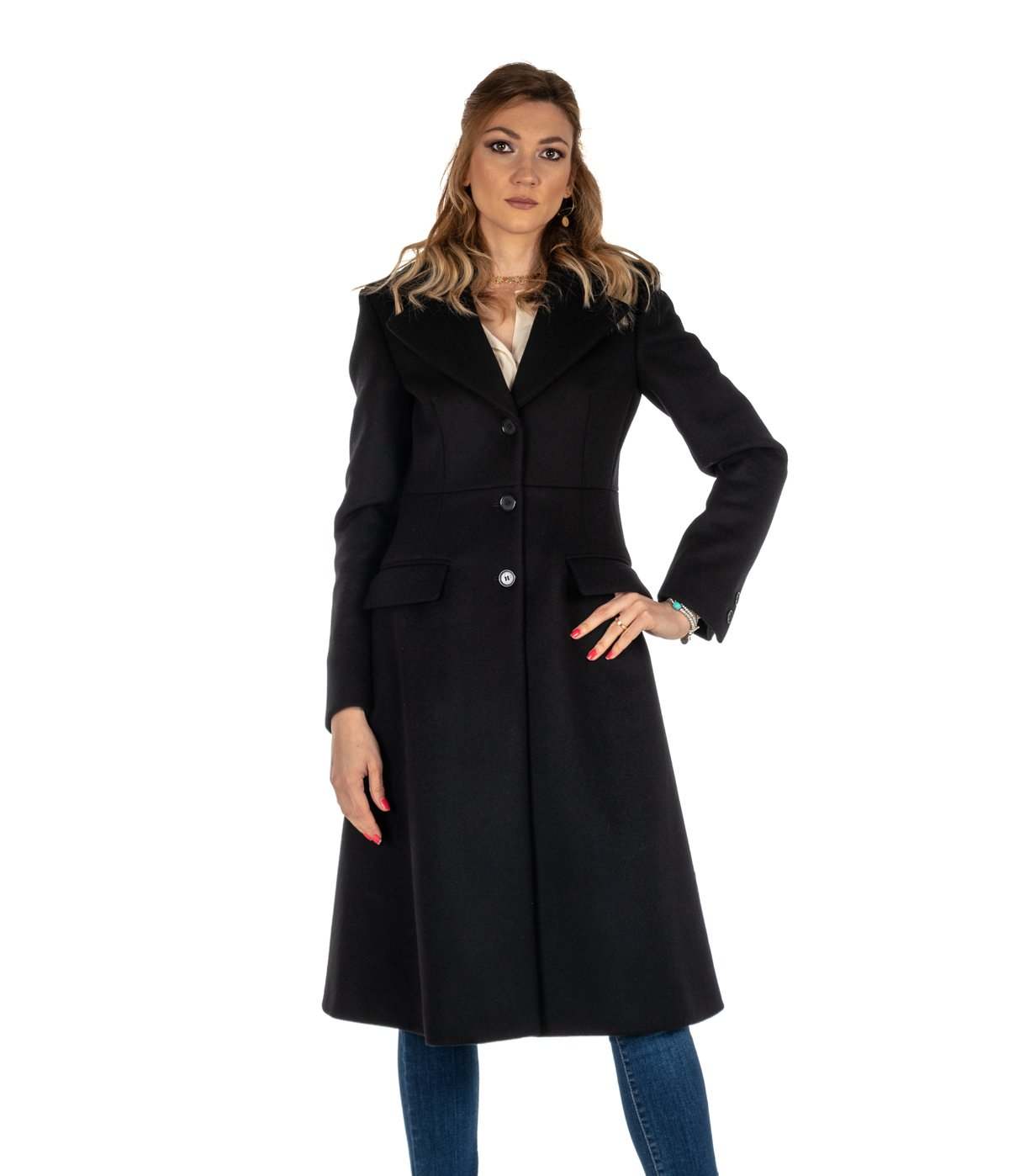 5391a166c773bc CAPPOTTO DONNA DONDUP NERO LUNGO SLIM FIT LANA DJ146 MADE IN ITALY ...