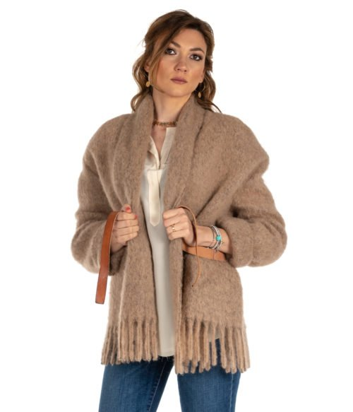 CAPPOTTO DONNA FORTE FORTE CAMMELLO MOHAIR COAT 5807 MADE IN ITALY
