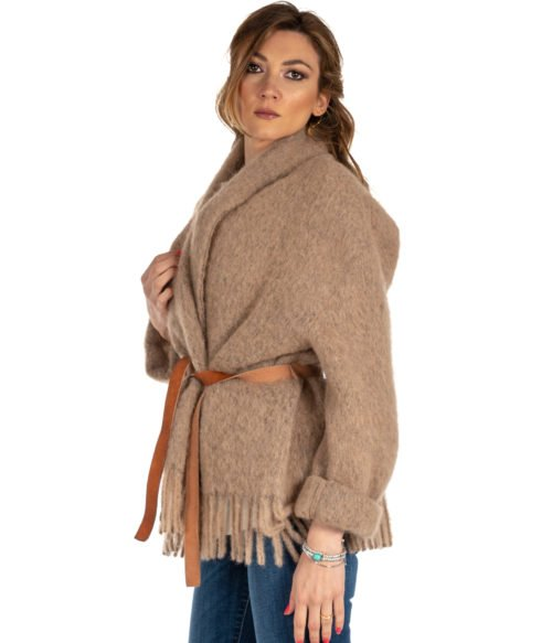 CAPPOTTO DONNA FORTE FORTE CAMMELLO MOHAIR COAT 5807 MADE IN ITALY WOMAN COAT