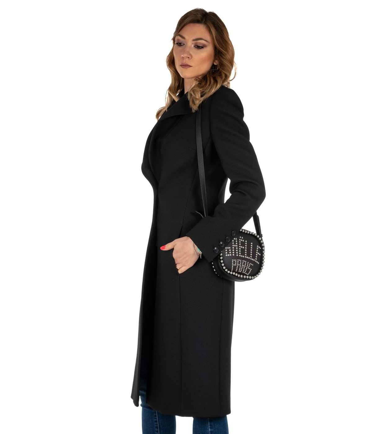 super popular 5ff81 d319a CAPPOTTO DONNA NENETTE NERO LUNGO SLIM FIT 26BB-VIANI WOMAN BLACK COAT