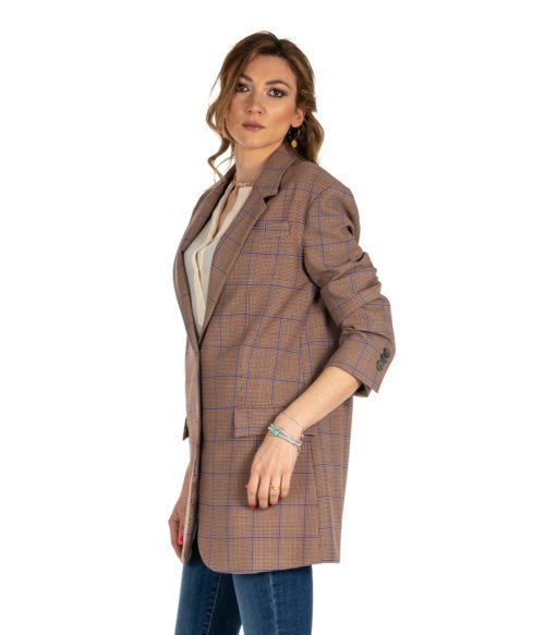 GIACCA DONNA ATTIC AND BARN BEIGE FANTASIA CHECK LANA JACKET CARNABY