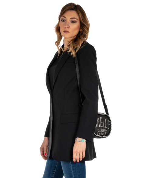 GIACCA DONNA ATTIC AND BARN NERO GIACCA LANA LONG JACKET CARNABY