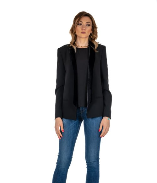 GIACCA DONNA PINKO NERO BAVERO IN VELLUTO BLACK PRISMA MADE IN ITALY BLAZER BLACK