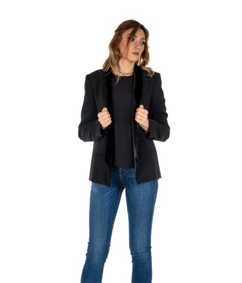 GIACCA DONNA PINKO NERO BAVERO IN VELLUTO BLACK PRISMA MADE IN ITALY BLAZER NERO
