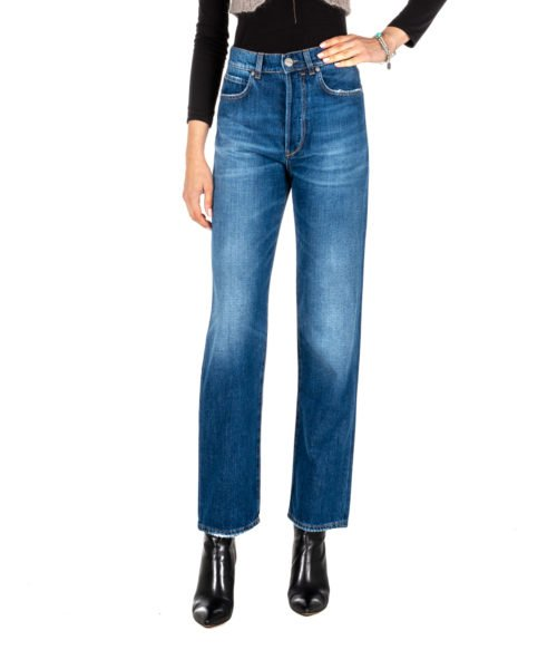 JEANS DONNA P_JEAN BLU DENIM ANYA BOYFRIEND HIGH RISE MADE IN ITALY BY PINKO