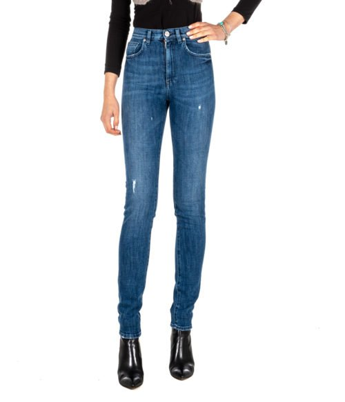 JEANS DONNA P_JEAN BLU DENIM TAYLOR SKINNY HIGH RISE MADE IN ITALY By PINKO