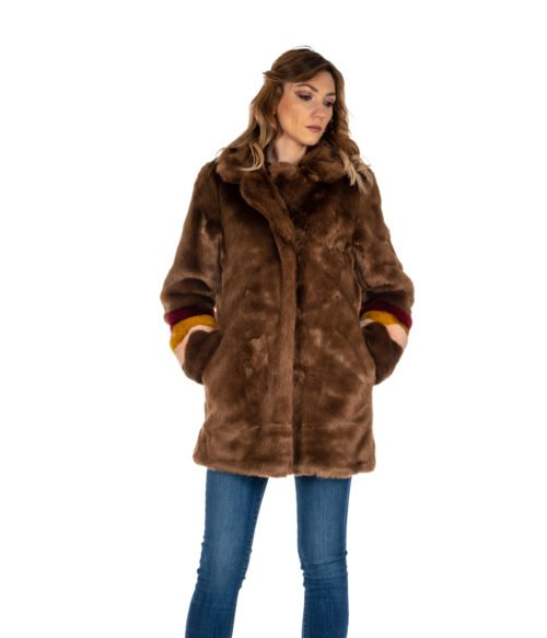 PELLICCIA DONNA PINKO MARRONE CAPPOTTO BROWN FISCHIETTO ECOPELLICCIA BROWN