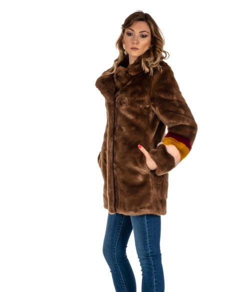 PELLICCIA DONNA PINKO MARRONE CAPPOTTO BROWN FISCHIETTO ECOPELLICCIA FUR