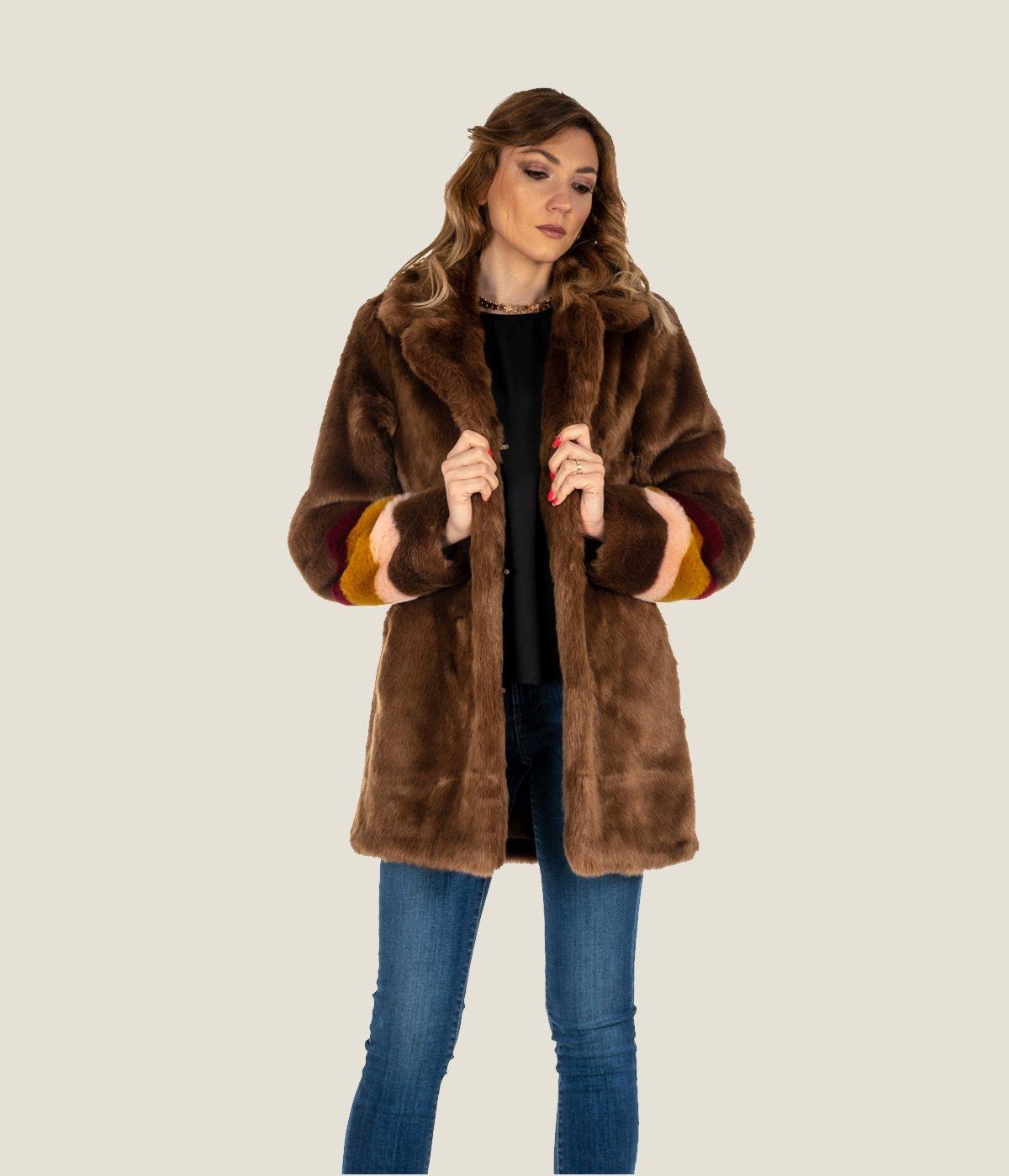 buy popular 989b5 47659 PELLICCIA DONNA PINKO MARRONE CAPPOTTO BROWN FISCHIETTO ECOPELLICCIA