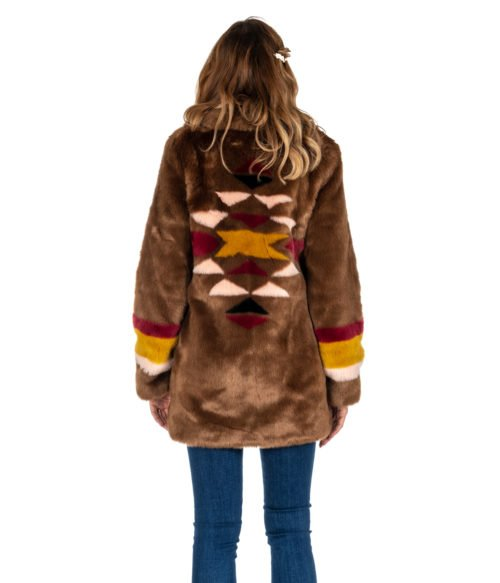 PELLICCIA DONNA PINKO MARRONE CAPPOTTO BROWN FISCHIETTO FUR ECOPELLICCIA