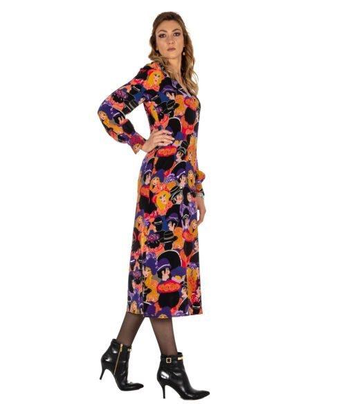 ABITO DONNA ATTIC AND BARN SETA FANTASIA TRIBECA DRESS ATDR011 3748 LONG DRESS SILK