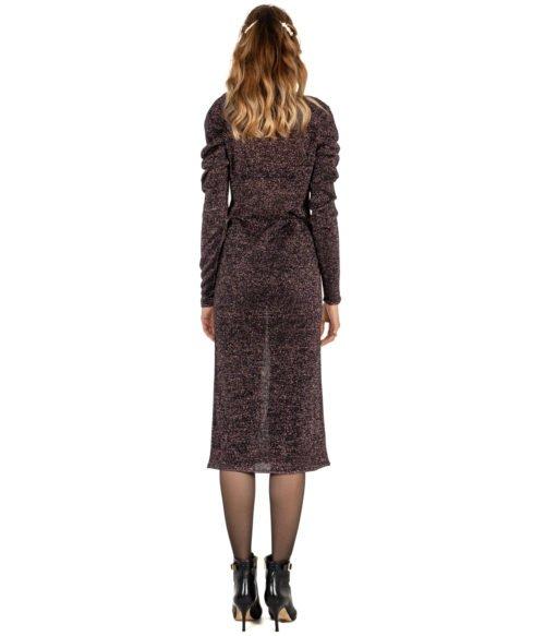 ABITO DONNA CIRCUS HOTEL VIOLA ARRICCIATO LUREX MADE IN ITALY DRESS WOMAN