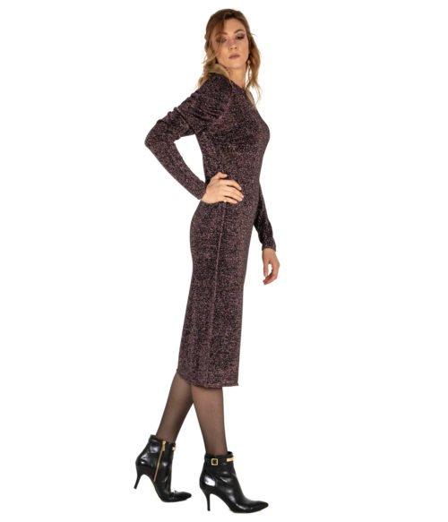 ABITO DONNA CIRCUS HOTEL VIOLA ARRICCIATO MAGLIA LUREX MADE IN ITALY DRESS WOMAN PURPLE