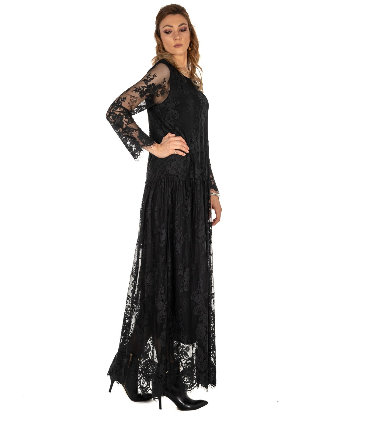 timeless design 68ab5 23253 ABITO DONNA DVROMA NERO LUNGO PIZZO DRESS WOMAN MADE IN ITALY