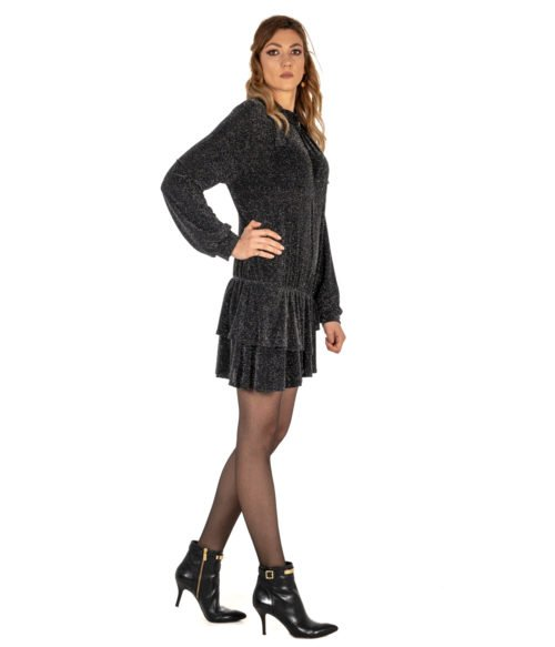 ABITO DONNA GAELLE PARIS NERO LUREX APPLICAZIONI GBD3102 MADE IN ITALY SHORT DRESS