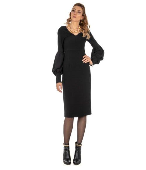 ABITO DONNA GOLD CASE NERO CRÊPE ABITO ELLEN EE997 MADE IN ITALY DRESS