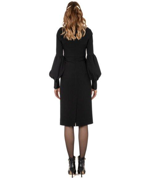 ABITO DONNA GOLD CASE NERO CRÊPE ABITO ELLEN EE997 MADE IN ITALY DRESS WOMAN BLACK