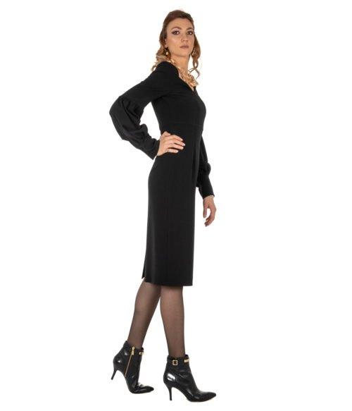 ABITO DONNA GOLD CASE NERO CRÊPE ABITO ELLEN EE997 MADE IN ITALY DRESS WOMAN GOLD CASE