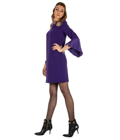 ABITO DONNA KAOS VIOLA CRÊPE KI1CO031 MADE IN ITALY DRESS PURPLE