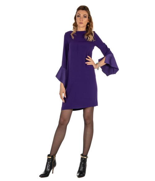 ABITO DONNA KAOS VIOLA CRÊPE KI1CO031 MADE IN ITALY DRESS WOMAN PURPLE