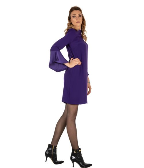 ABITO DONNA KAOS VIOLA CRÊPE KI1CO031 MADE IN ITALY WOMAN PURPLE