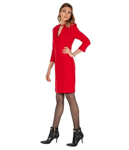 ABITO DONNA PINKO ROSSO LANA SCOLLO A V ABITO R43 RED DRESS WOMAN