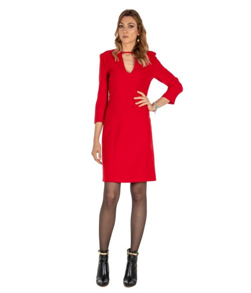 ABITO DONNA PINKO ROSSO LANA SCOLLO A V GIORGIO 1 ABITO RED DRESS WOMAN