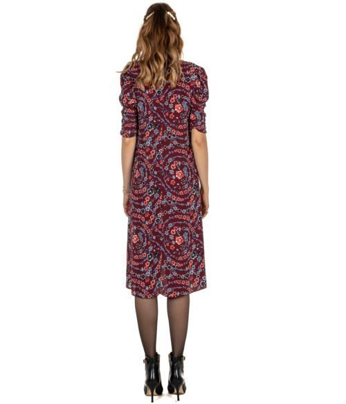 ABITO DONNA SEE BY CHLOÉ BORDEAUX FIORATO VISCOSA DRESS FLOWER WOMAN