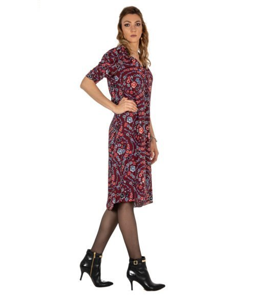 ABITO DONNA SEE BY CHLOÉ BORDEAUX FIORATO VISCOSA DRESS WOMAN FLOWER