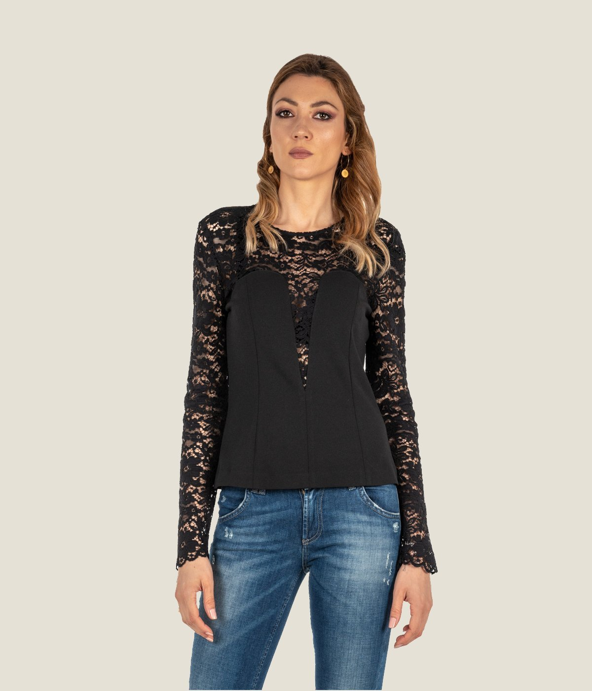 low priced 1bfce c119b CAMICIA DONNA MERCI NERA BLUSA PIZZO MADE IN ITALY