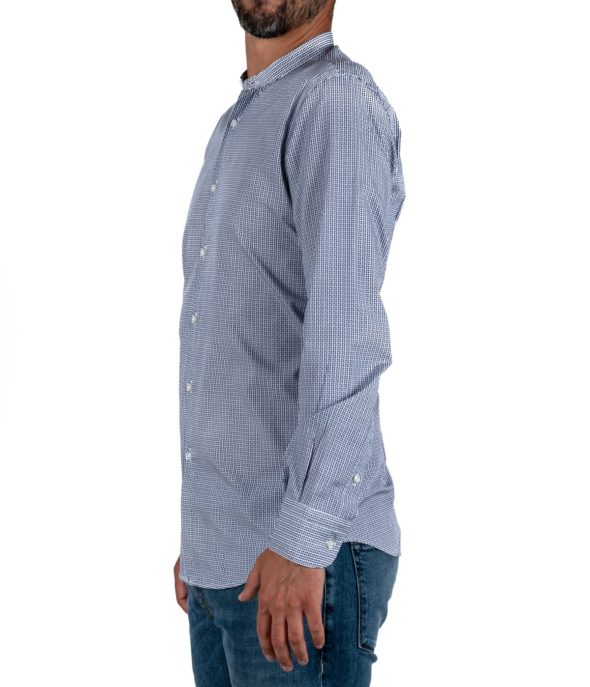 uk availability 96502 0c2f6 CAMICIA UOMO MARCUS BY DELSIENA BIANCA FANTASIA BLU COLLETTO COREANA