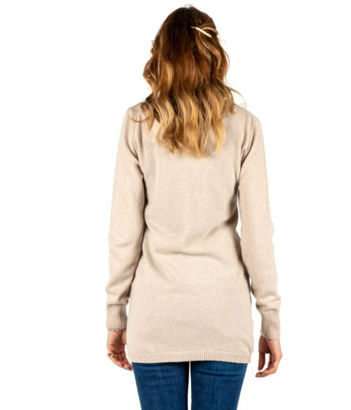 CARDIGAN DONNA DANIELE FIESOLI BEIGE CACHEMIRE LANA MADE IN ITALY LONG JACKET