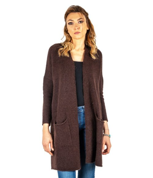 CARDIGAN DONNA OTTOD'AME MARRONE MORO LANA MOHAIR MADE IN ITALY LONG JACKET WOMAN BROWN