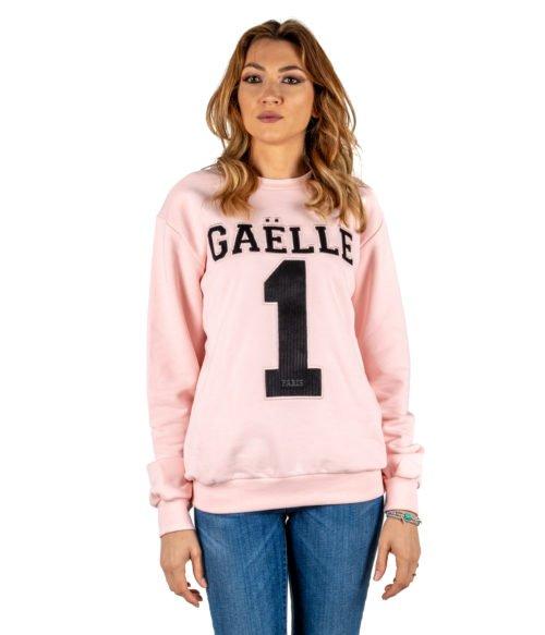 FELPA DONNA GAELLE PARIS ROSA MAGLIA GIROCOLLO GBD2720 MADE IN ITALY SWEATSHIRT WOMAN PINK