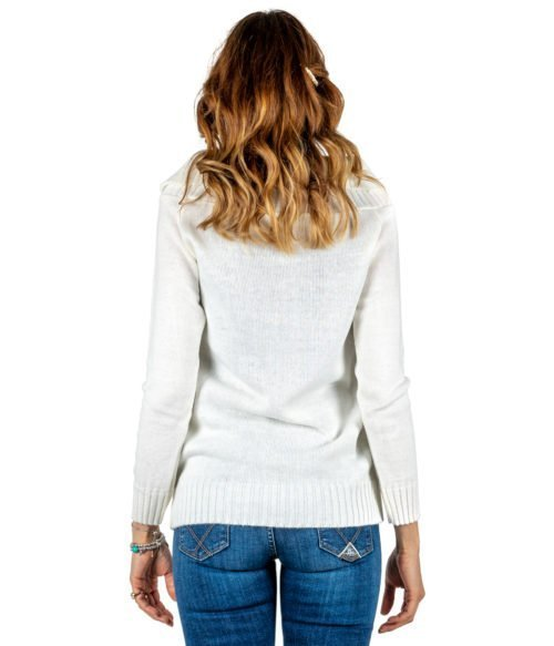 PULLOVER DONNA TUWÈ BIANCO PANNA MAGLIA LANA MADE IN ITALY