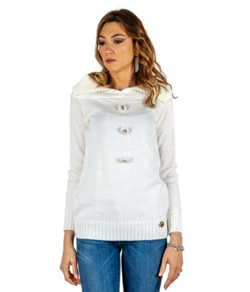 PULLOVER DONNA TUWÈ BIANCO PANNA MAGLIA LANA MADE IN ITALY PULL WOMAN WHITE