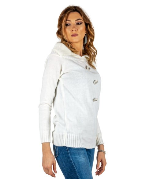 PULLOVER DONNA TUWÈ BIANCO PANNA MAGLIA LANA MADE IN ITALY PULL WOMAN WHITE TUWE