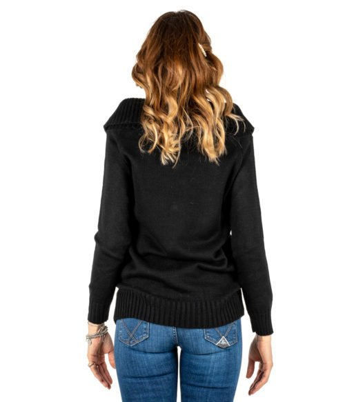 PULLOVER DONNA TUWÈ NERO MAGLIA LANA MADE IN ITALY PULL WOMAN TUWE