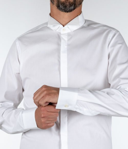 CAMICIA UOMO CALIBAN BIANCA PURO COTONE COLLETTO DIPLOMATICO SLIM FIT PURE COTTON SHIRT