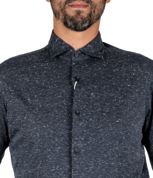 CAMICIA UOMO XACUS GRIGIA MELANGE COTONE JERSEY KNITTED SHIRT CASUAL PURE JERSEY COTTON