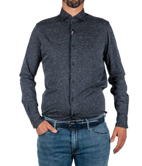simonte-000000578-03CAMICIA UOMO XACUS GRIGIA MELANGE COTONE JERSEY KNITTED SHIRT CASUAL PURE JERSEY