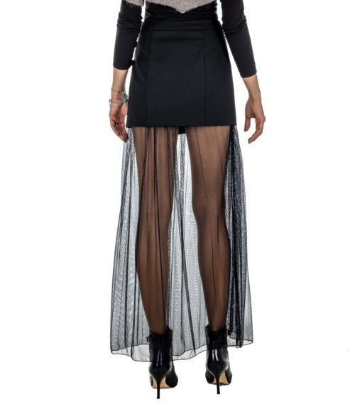 GONNA DONNA PATRIZIA PEPE NERA CORTA CON TULLE SKIRT
