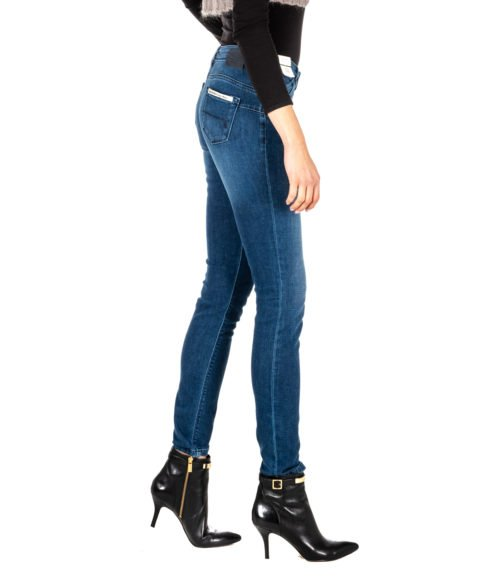 JEANS DONNA RE-HASH BLUE SKINNY PANTALONE RITA P302 2 MADE IN ITALY