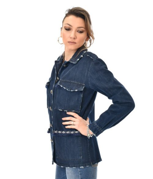 LOULOU LONDON GIACCA DONNA JEANS BLU CON APPLICAZIONI SPRING SUMMER