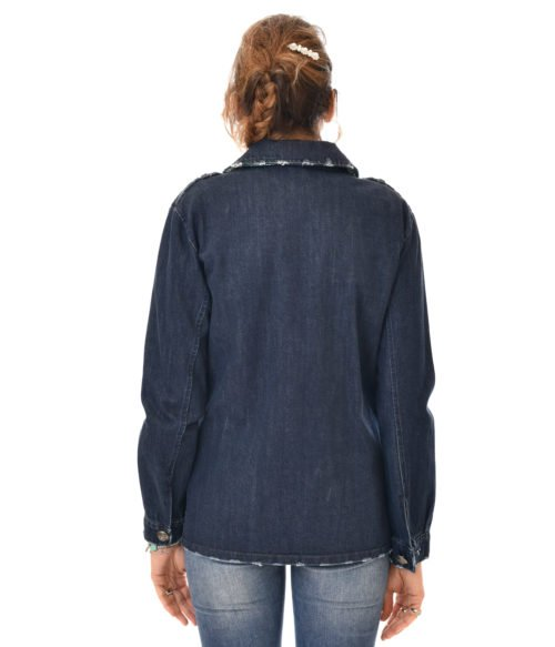 LOULOU LONDON GIACCA DONNA JEANS BLU CON APPLICAZIONI SPRING SUMMER WOMAN